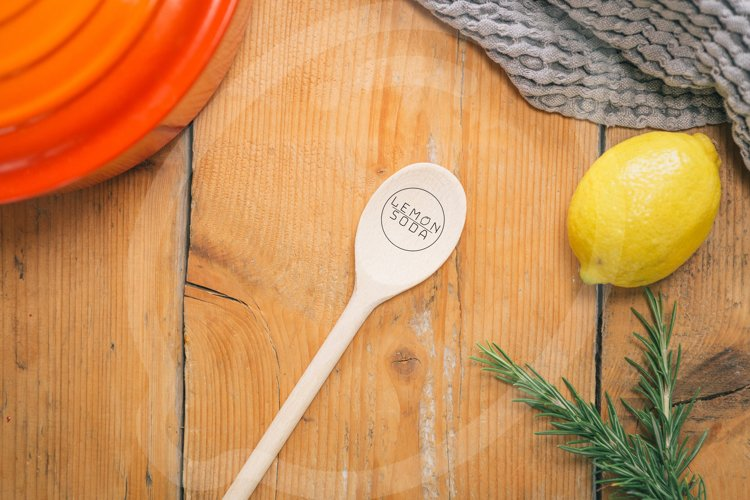 Mockup | mockup spoon on wooden table | table setting example image 1