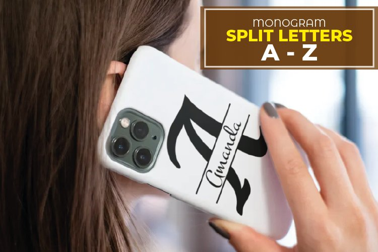 Split Monogram Letters SVG - Split Letters A-Z 26 Split