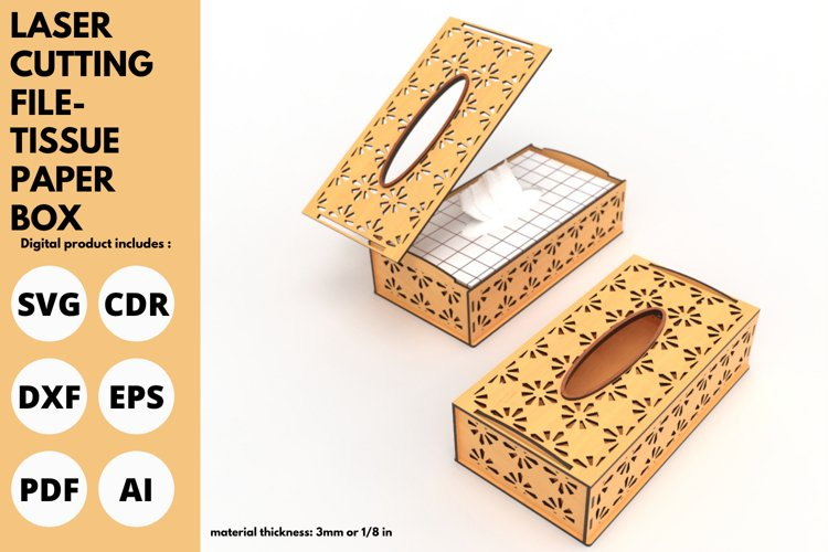 Tissue Paper Box- SVG - Laser cutting File