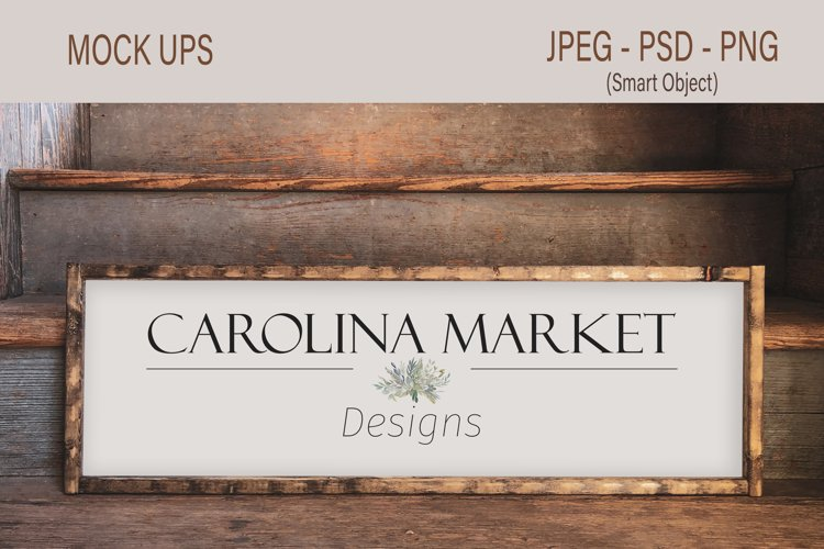 10x30 Wood Sign Mockup | Rustic Wood Frame Smart Object PSD example image 1