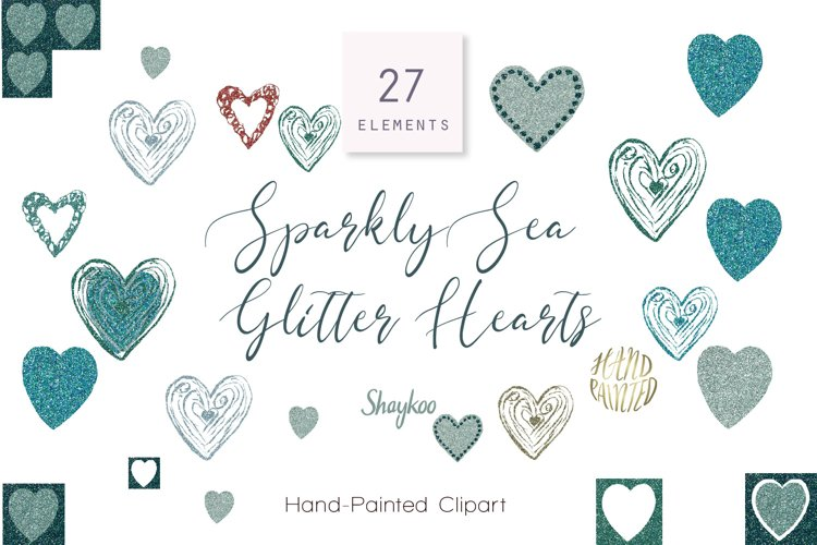 Glitter Hearts Clipart, Marine Sparkly Glitter Hearts