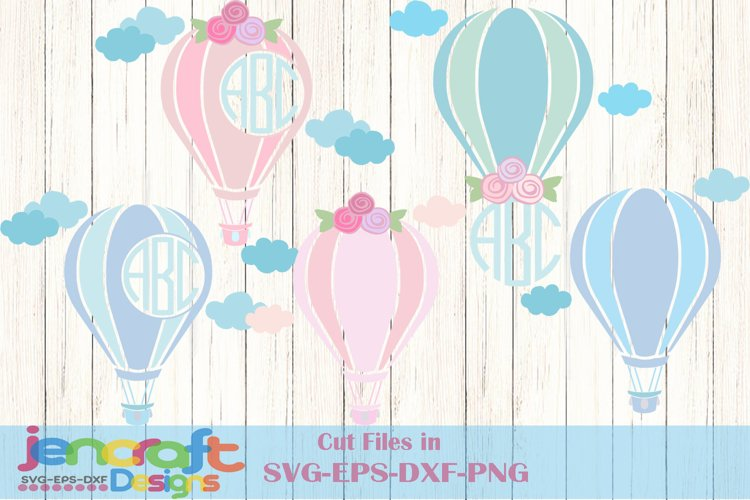 Hot air balloon svg cutting file, Monogram Frame Svg images example image 1