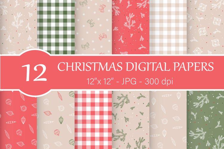 Christmas digital paper, Christmas ornament example image 1