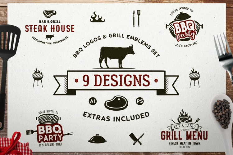 BBQ SVG Logos Bundle Grill Emblems Icons Set, Barbecue DXF