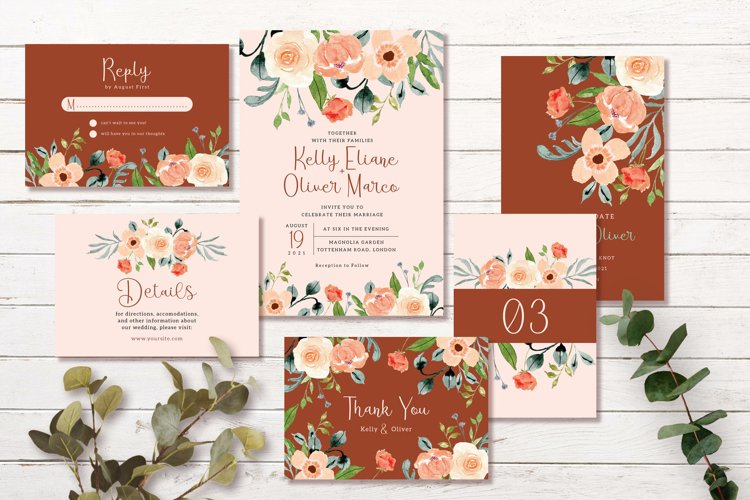 Terracotta Peach Floral Wedding Invitation Set example image 1