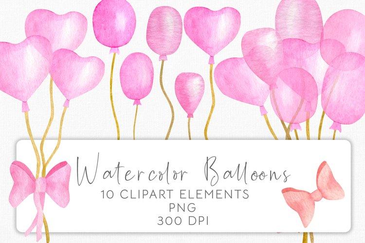 Watercolor Pink Balloons Clipart Set