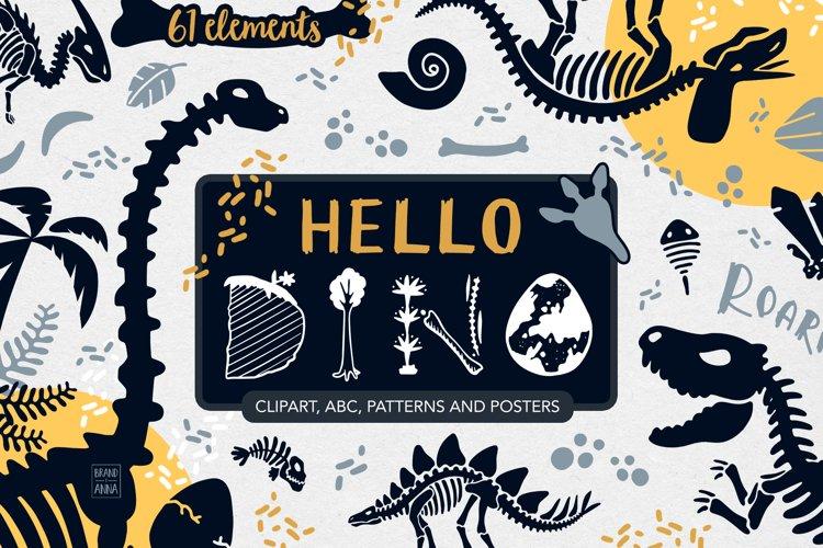 Dinosaur skeletons vector clipart, alphabet, patterns example image 1