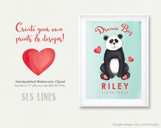 Cute Panda Watercolor Illustration example 3