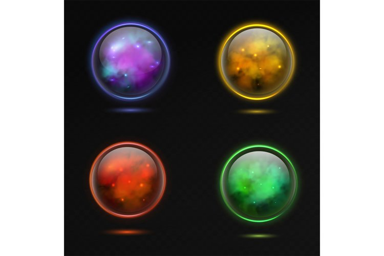 Magical sphere. Glass glowing 3d magic globe and shiny light example image 1
