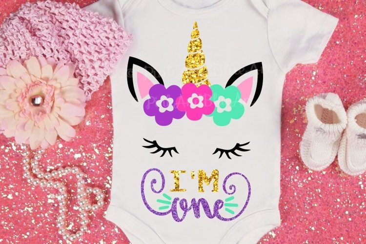 First Birthday SVG - 1st svg - Baby svg - Unicorn svg - ONE svg - Baby girl - birthday design