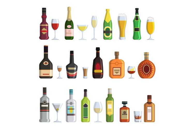 Illustrations of alcoholic bottles and glasses in cartoon st example image 1