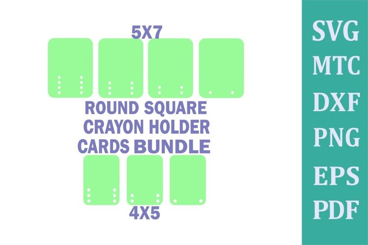 Crayon Holder ROUND SQUARE Blank DIY CARDS 1 to 6 Crayons