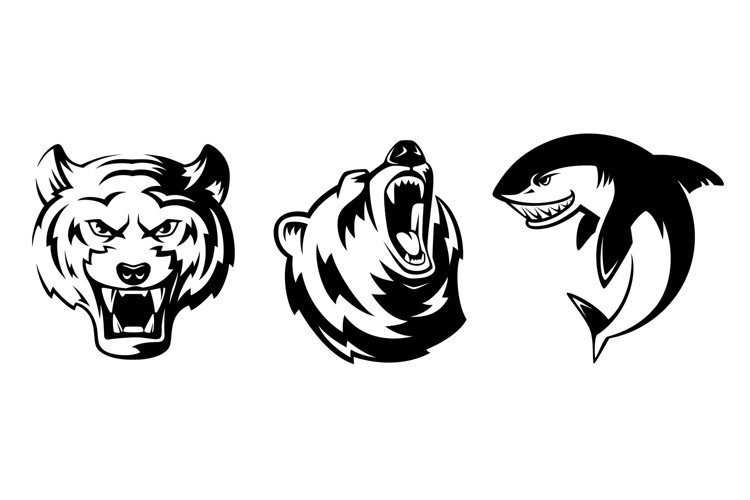 Illustrations of animals for sport badges. Grizzly, tiger an example image 1