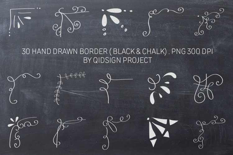 30 Hand Drawn Border Black and White Clipart, PNG 300 DPI example image 1