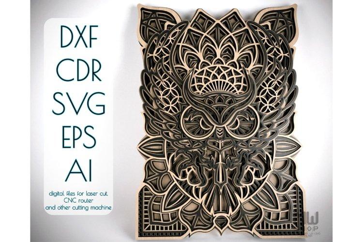M43 - OWL Mandala DXF, Layered Owl Mandala for laser cut example image 1