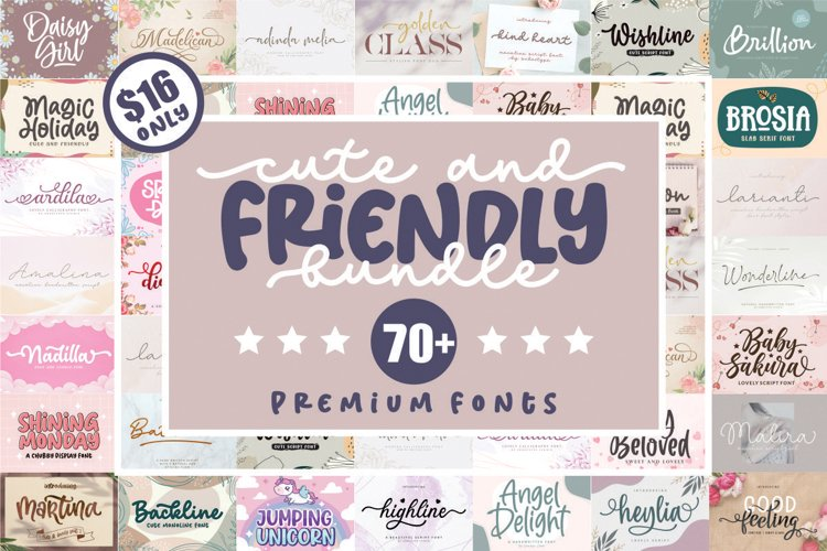 Cute and Friendly - Best seller Font Bundles example image 1