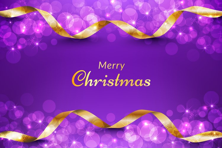 Purple christmas background with gold ribbon and glitter example image 1