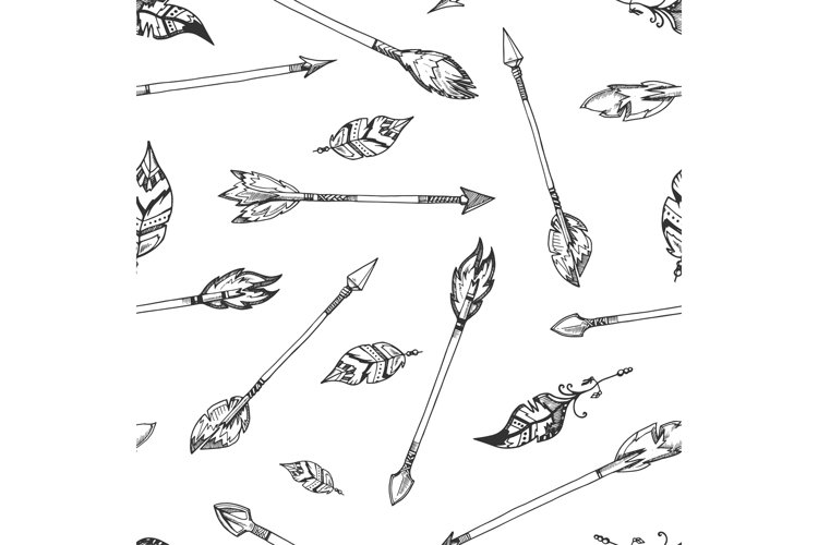 Hand drawn indian arrows vector seamless hippie pattern example image 1