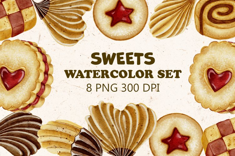 Watercolor sweets, baking clipart, cookies, jam PNG