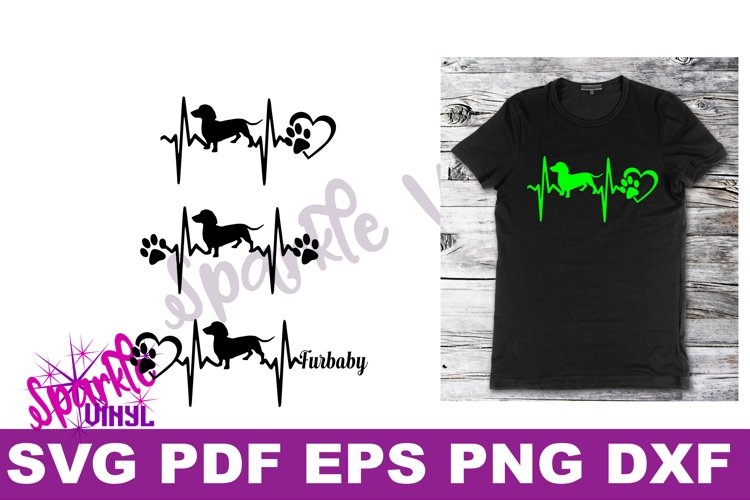 Svg dachshund heartbeat dog print printable or cut file svg bundle dxf eps pdf png files cricut silhouette dachshund gift for dog lover dachshund example image 1