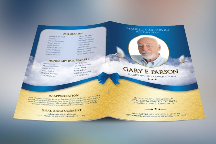 Blue Ribbon Funeral Program Template