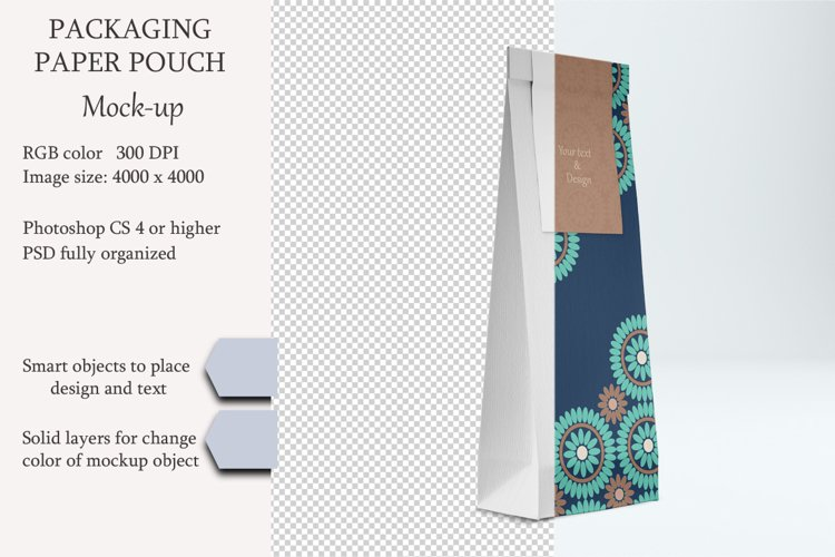 Paper pouch mockup. PSD mockup. PSD object mockup. example image 1