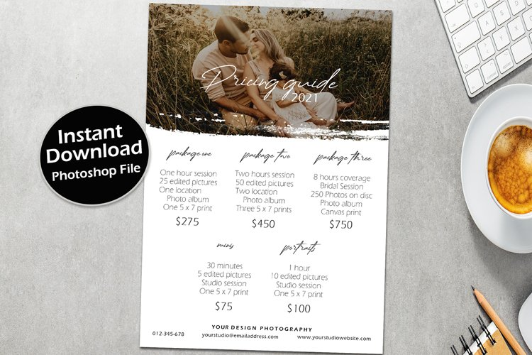 Pricing template for photographers and photography template,