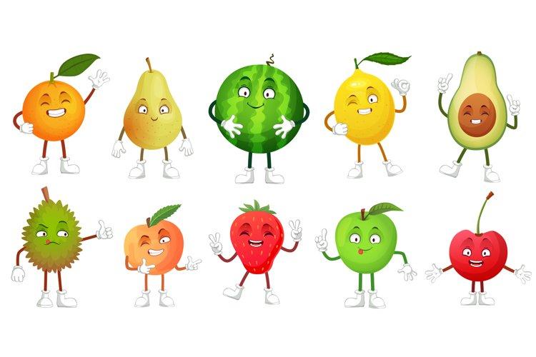 Cartoon fruit character. Happy fruits mascot funny durian, s example image 1