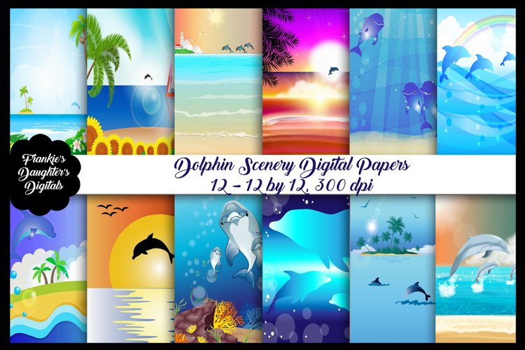 Dolphin Beach Scenery Digital Paper Pack, Summertime example image 1