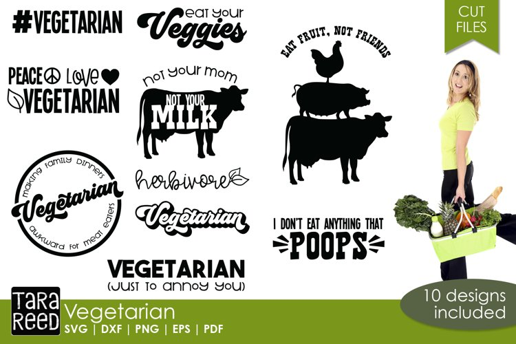 Vegetarian SVG and Cut Files for Crafters example image 1