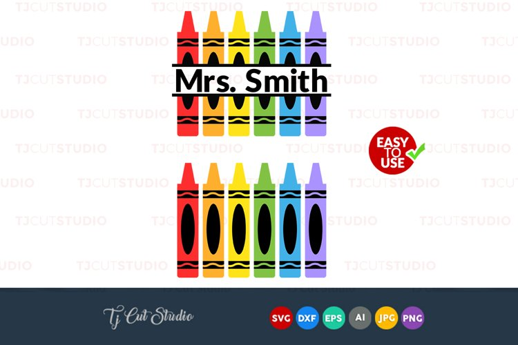 Crayon monogram svg, school monogram, crayons svg, Files for Silhouette Cameo or Cricut, Commercial   Personal Use.