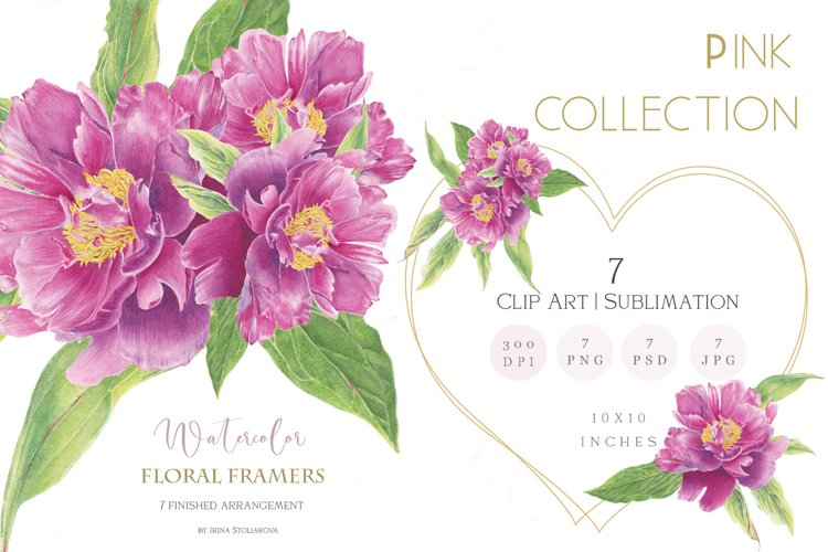 Floral hearts clipart. Love png illustration