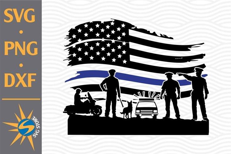 Police Blue Line American Flag SVG, PNG, DXF Digital Files