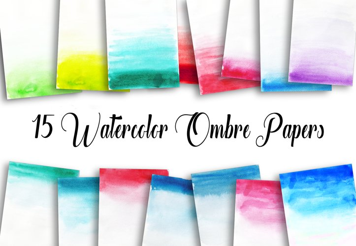 15 Watercolor Ombre Papers