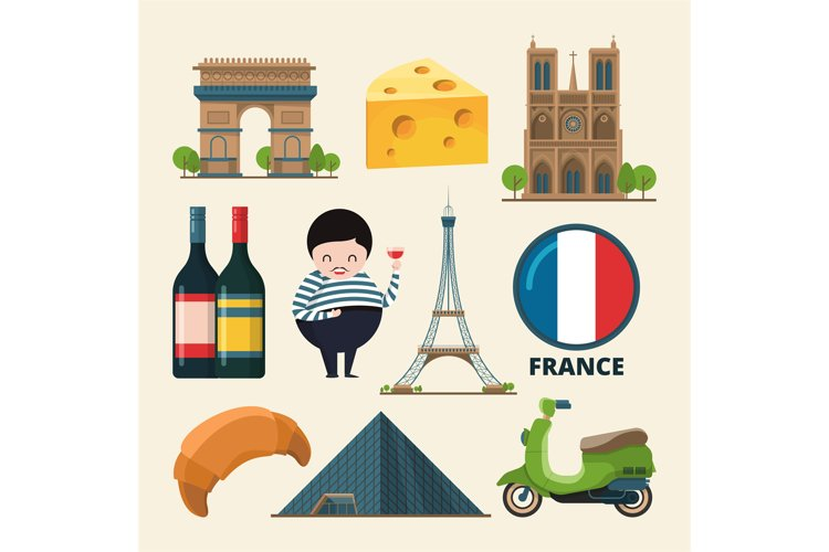 Collection set of france landmarks. Vector icon set in carto example image 1
