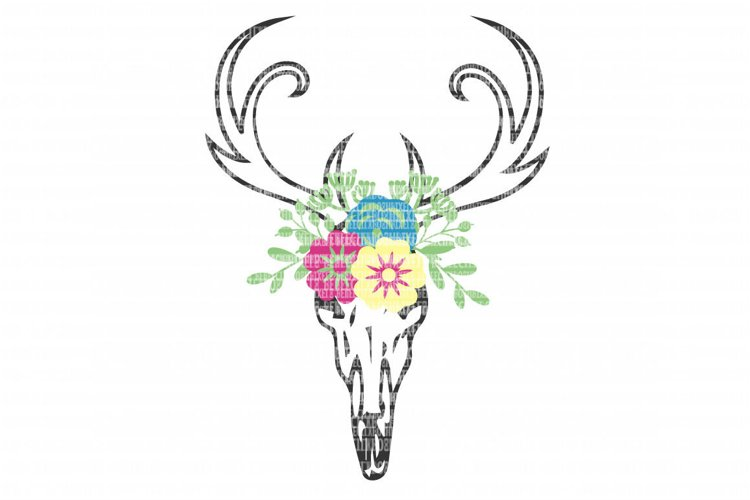 Deer Skull Flowers SVG Files for Silhouette and Cricut Design Space Christmas Cut File Printable Transfer Decal DXF Commercial Use example image 1