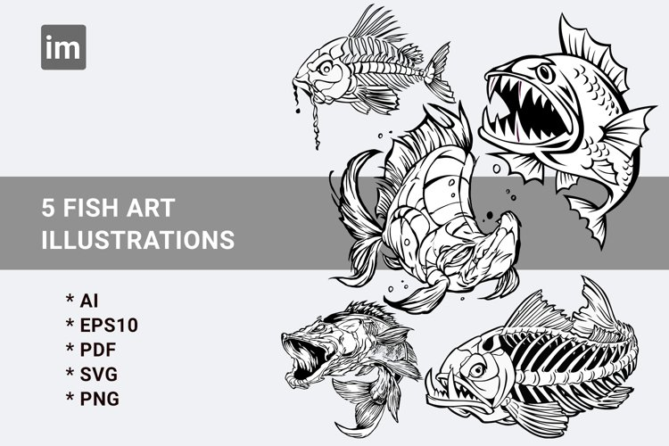 Fish art illustrations SVG Bundels