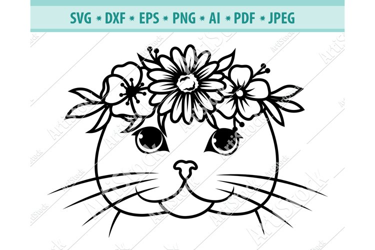 Cat with Flower Crown SVG, Cat Face Svg, Cat Png ,Dxf, Eps example image 1