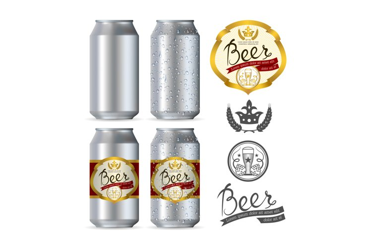 Beer aluminum realistic cans example image 1