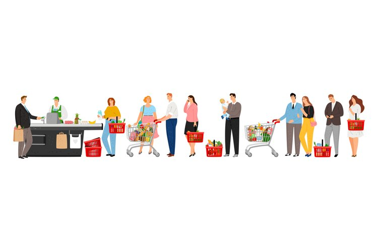 Grocery store queue example image 1
