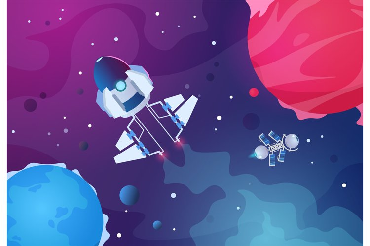 Cartoon space background. Alien planets spaceship asteroid e example image 1