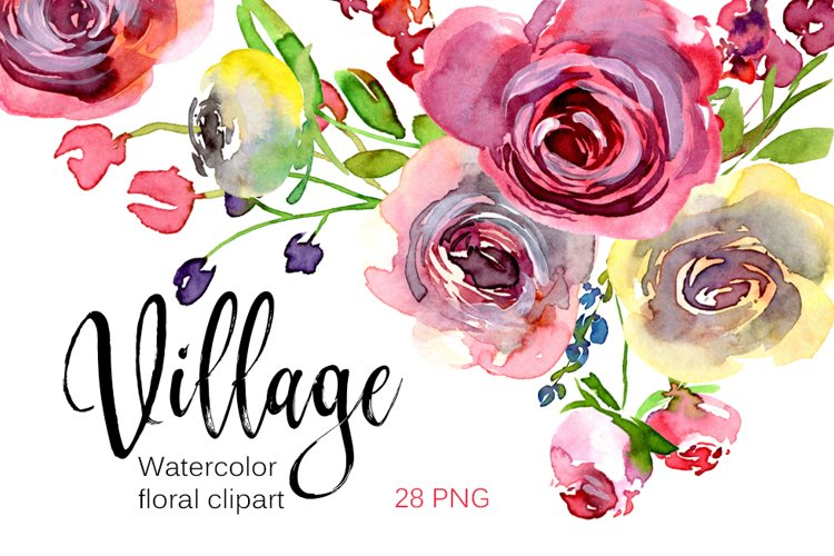 Watercolor village red burgundy roses PNG clipart example image 1