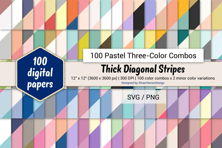 Thick Diagonal Stripes Paper - 100 Pastel Three-Color Combos example image 1