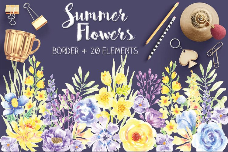 Summer Flowers: border plus watercolor elements