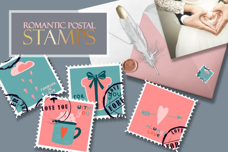 Postage stamps romantic for Valentine's Day example image 1