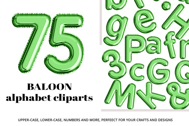 Green Foil Balloon Letters Numbers & Symbols Clipart example image 1