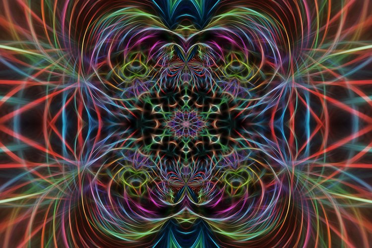 Abstract multicolored fractal neon background. example image 1