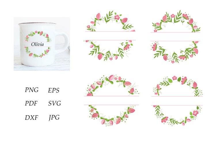 Monogram Flower Bundle. Floral Monogram Frame. Pink Flowers example image 1