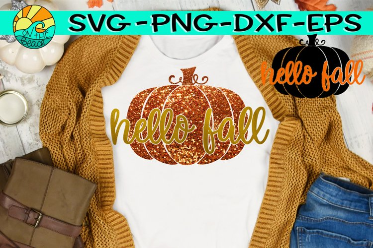 Hello Fall -Pumpkin - Glitter - SVG PNG EPS DXF example image 1