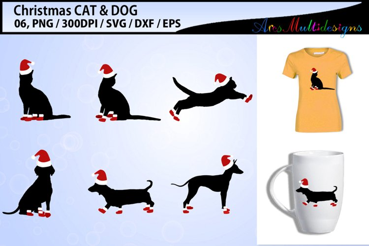 christmas CAT vector svg vector / christmas DOG vector svg example image 1
